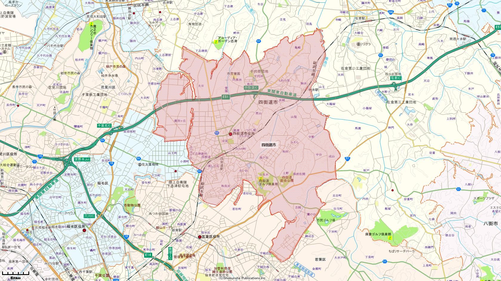 四街道市地図